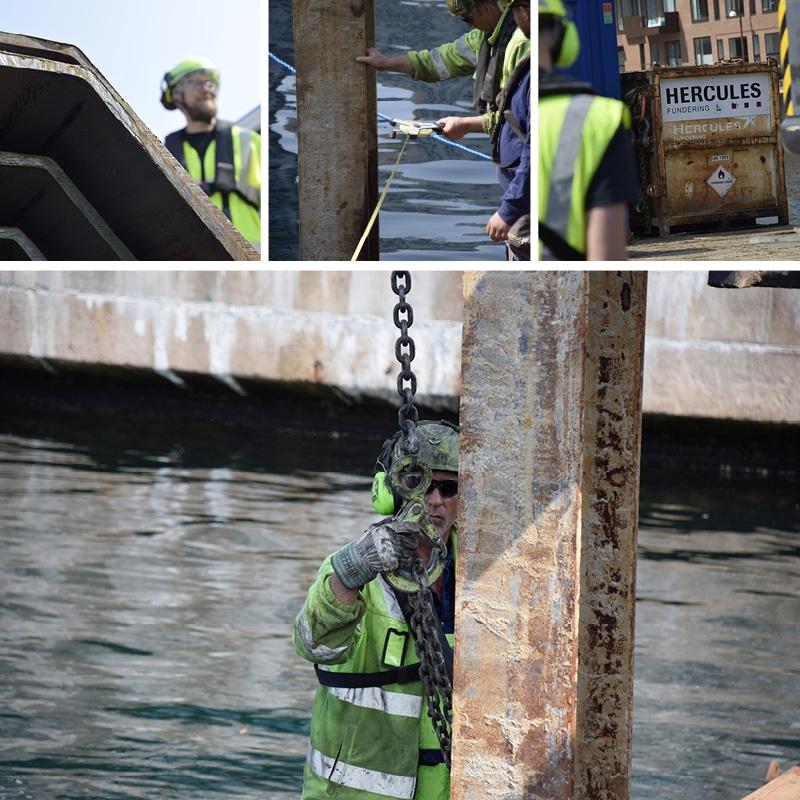 Hercules Fundering banker 150 spunsplanker ned i Kronløbsbassinet.