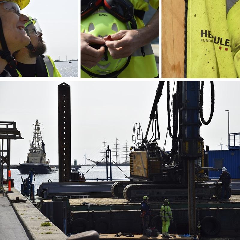 Hercules Fundering banker 150 spunsplanker ned i Kronløbsbassinet. Hammeren er monteret på en 28 meter høj rambuk. Her ses maskinen i aktion i Kronløbsbassinet.
