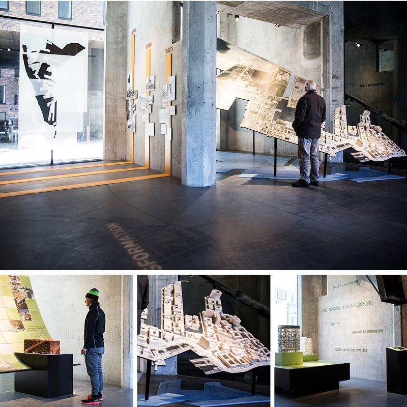 Billeder fra udstillingen Himmel og Hav, der omhandler både Kronløbsbassinet og hele udviklingen i Nordhavn.