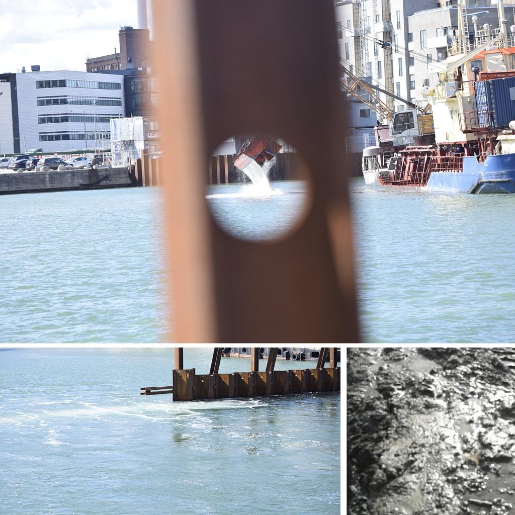 Oprensning af sediment i Kronløbsbassinet, hvor Kronløbsøen skal bygges. Et særligt boblegardin sikrer, at  sedimentet bliver, hvor det skal være, når skibet arbejder og sejler ind og ud af bassinet. Billede af boblegardin, grab og sediment.