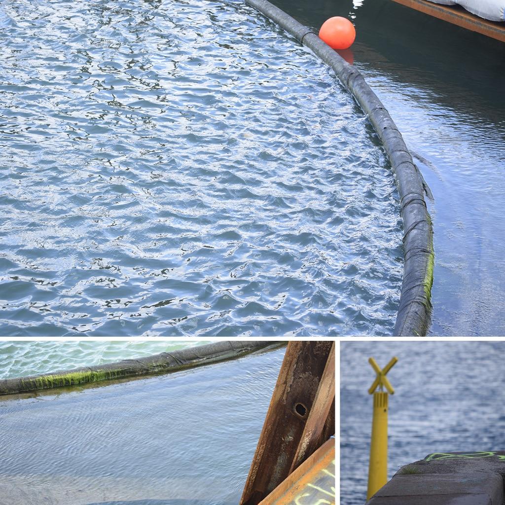 Oprensning af sediment i Kronløbsbassinet, hvor Kronløbsøen skal bygges. Et siltgardin holder sedimentet på plads.