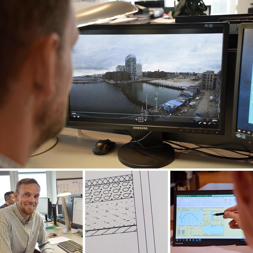 Kronløbsøen. Kåre ser på en timelapse af byggeriet i Kronløbsbassinet, og viser beregninger ifht designet, betonens egenskaber med mere.