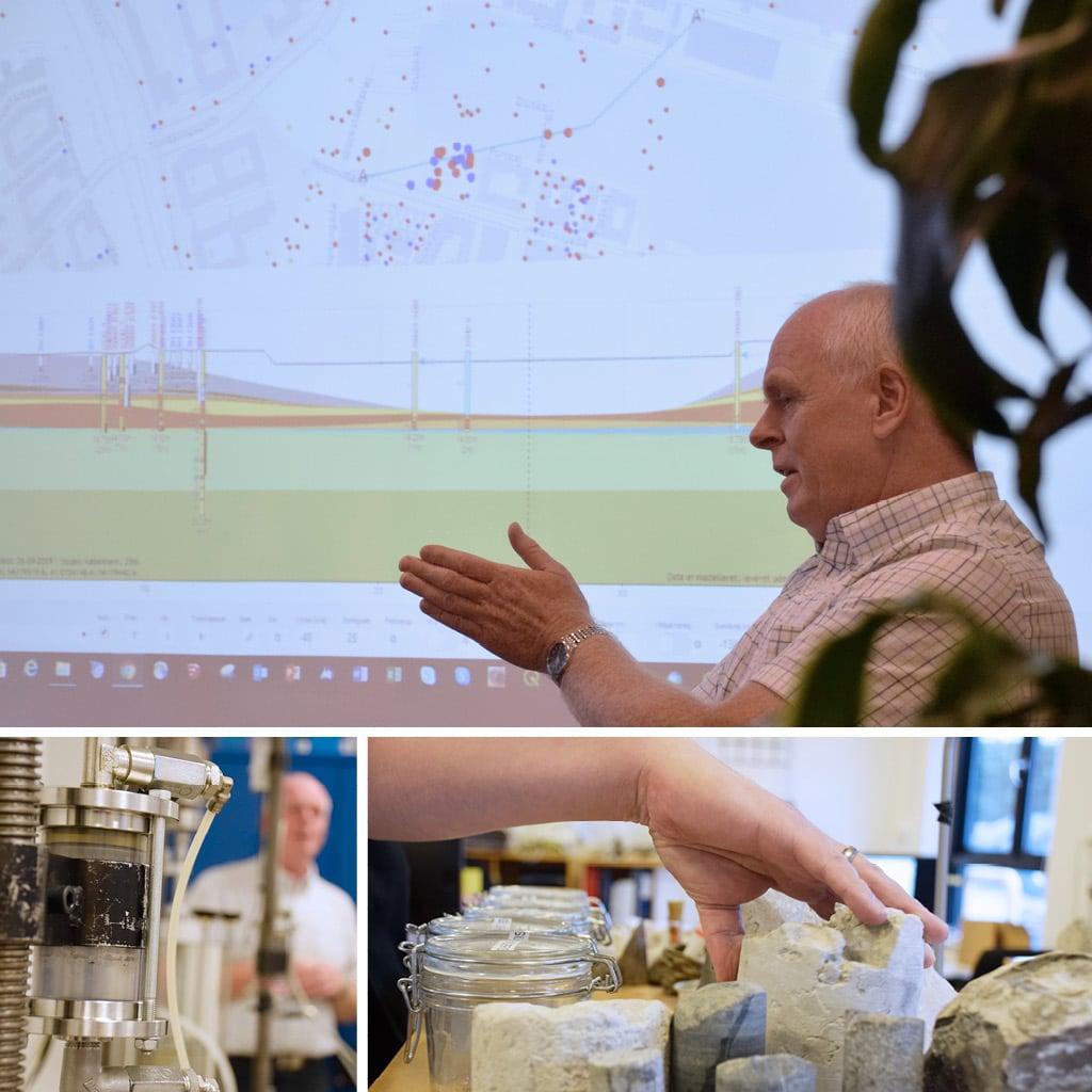Visualisering af undergrunden under Kronløbsøen samt prøveeksempler på H1-H5 kalk.