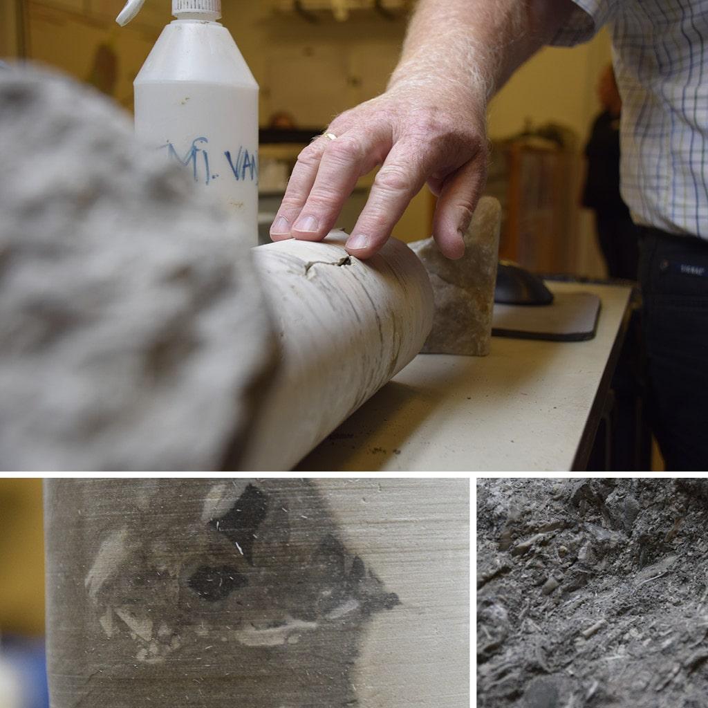 Forskellige eksempler på borekerner, hvor man fx ser kalken med naturlig revnedannelse samt et eksempel på flintindlejring i kalken.  Derudover ses grønssandsformation.