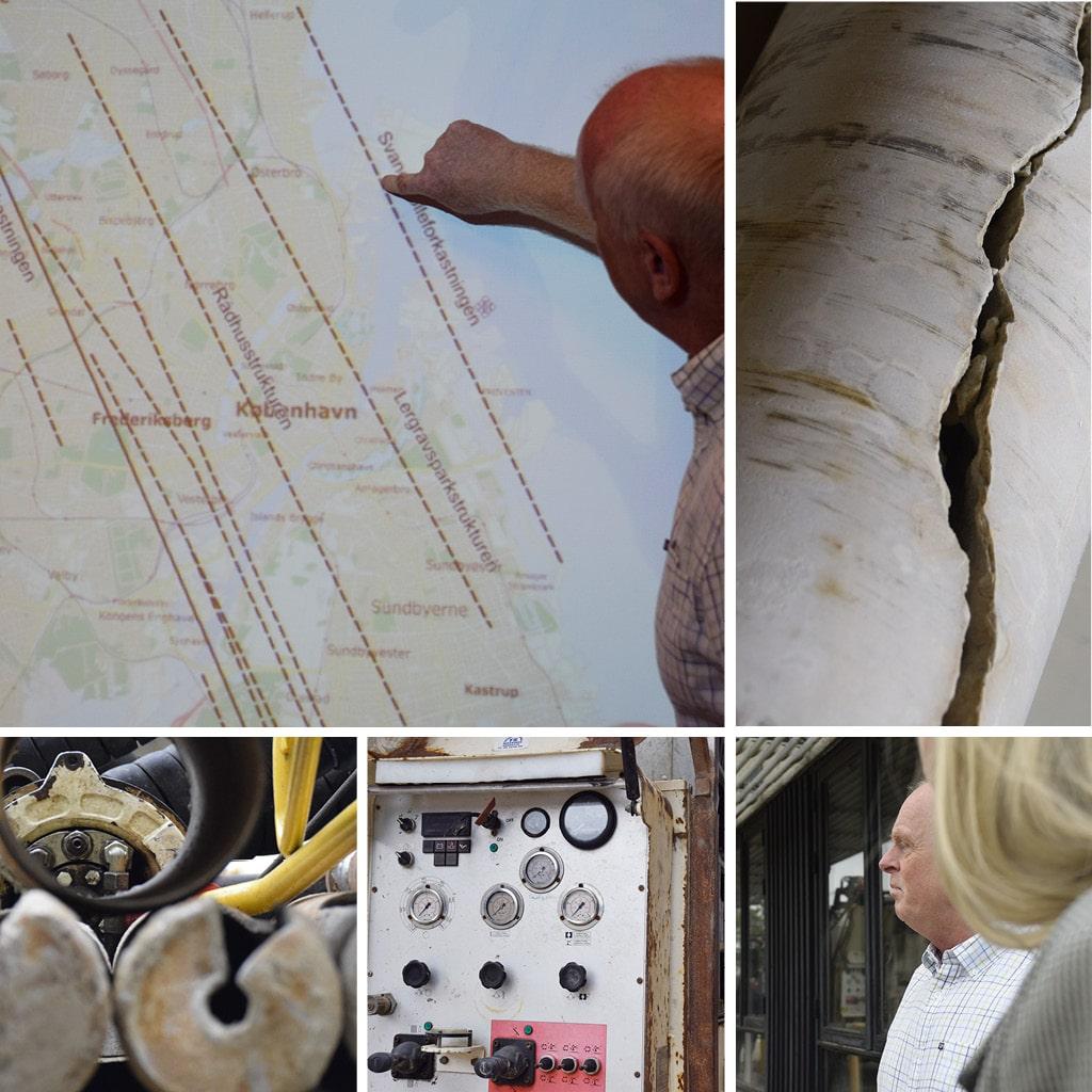 Markering af Svanemølleforkastningen, der går igennem byggefeltet.  Eksempel på en borekerne af kalk, der viser, hvordan en sprækkezone i kalken kan se ud.