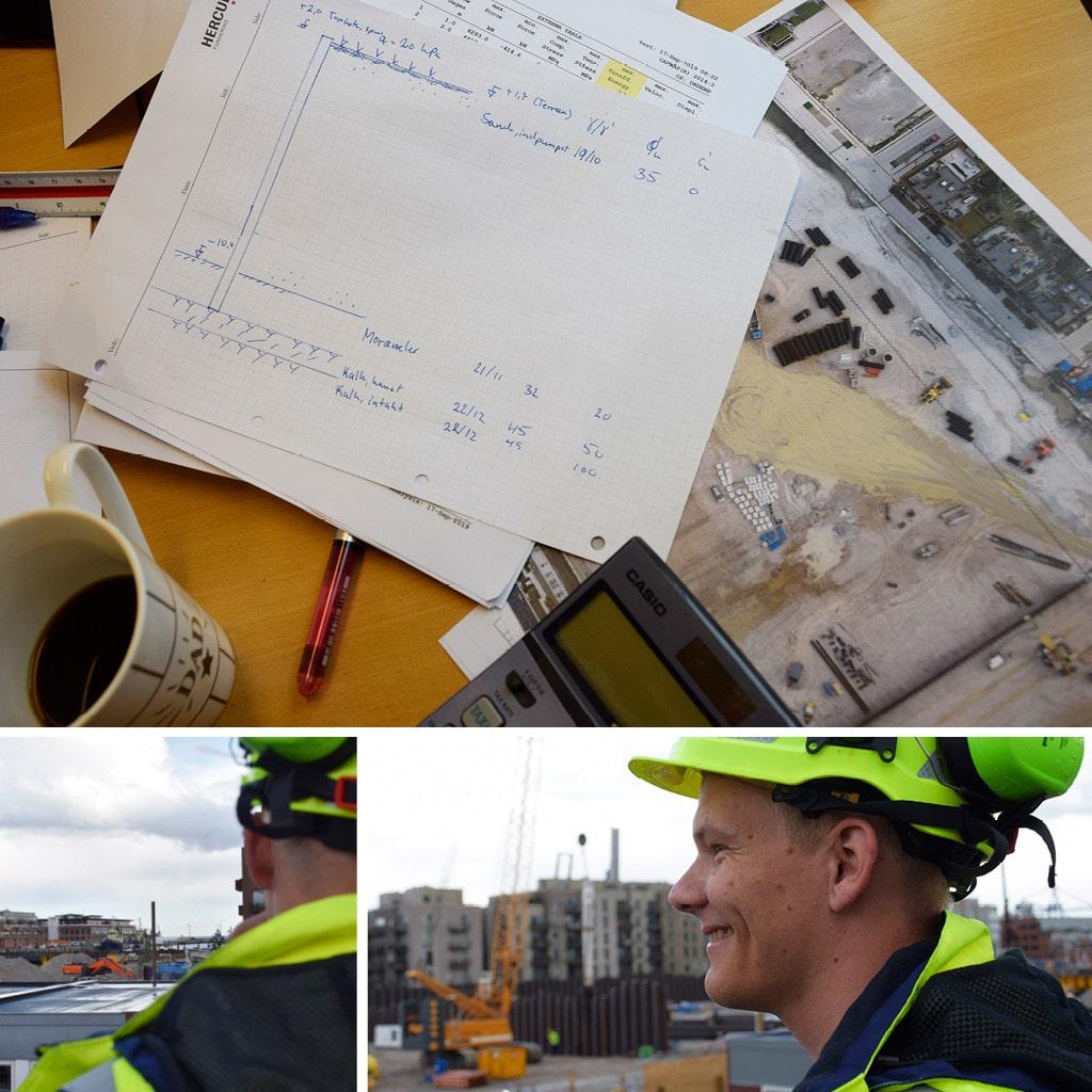 Kronløbsøen. Tegning på skrivebord der viser jordbundsforhold. Jonathan der ser ud over byggepladsen i Kronløbsbassinet.