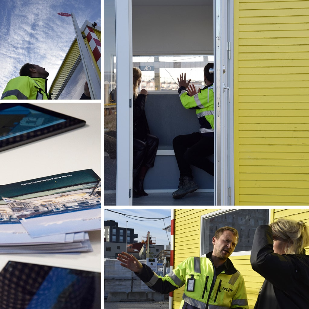 Informationsvogn om Kronløbsøen ved Kronløbsbassinet, Nordhavn.