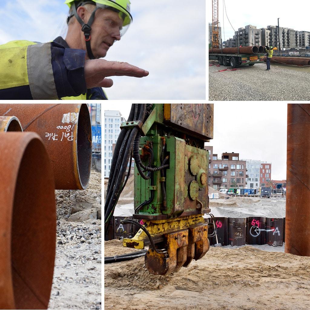 Byggeplads ved Kronløbsøen. Thomas Isaksen taler om kranfundamenter. På billederne ses vibrator og kranfundament rør.