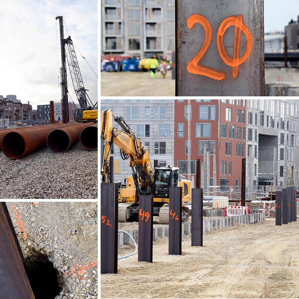 Byggeplads ved Kronløbsøen. Billederne viser rør til kranfundementer med hydrohammeren til efterramning i arbejde samt aflæsningspladser.