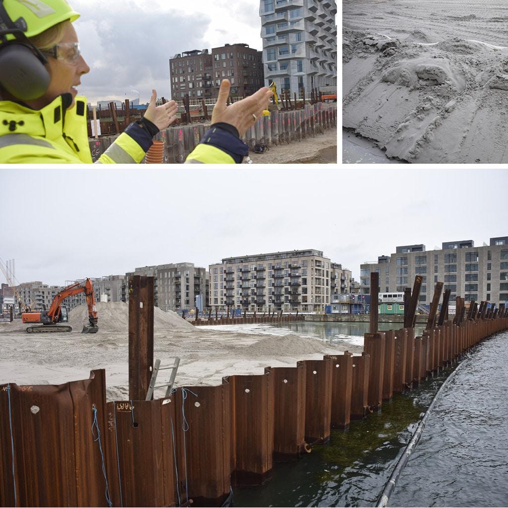 Udgravning af byggegrube på Kronløbsøens byggeplads. Parkeringskælderen tager form.