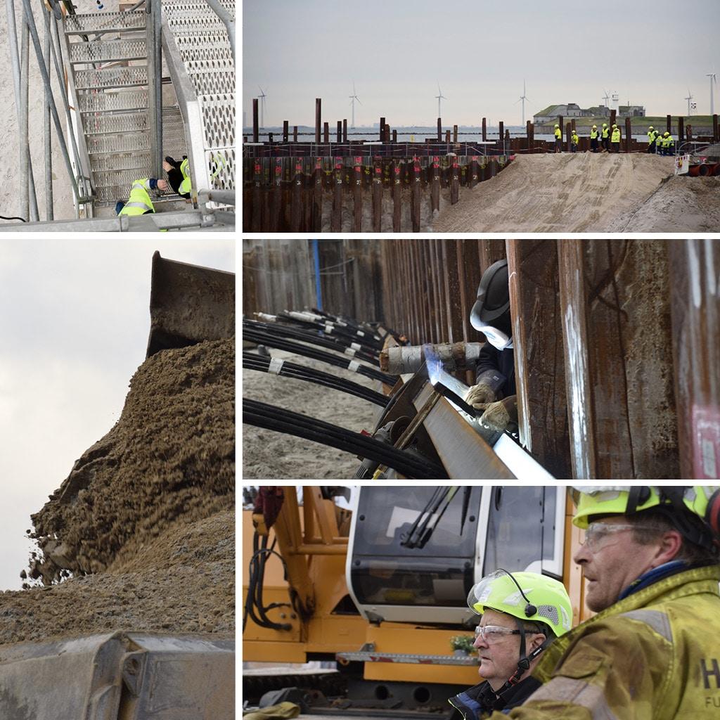 Udgravning af byggegrupe på Kronløbsøens byggeplads. Svensning ved anker.
