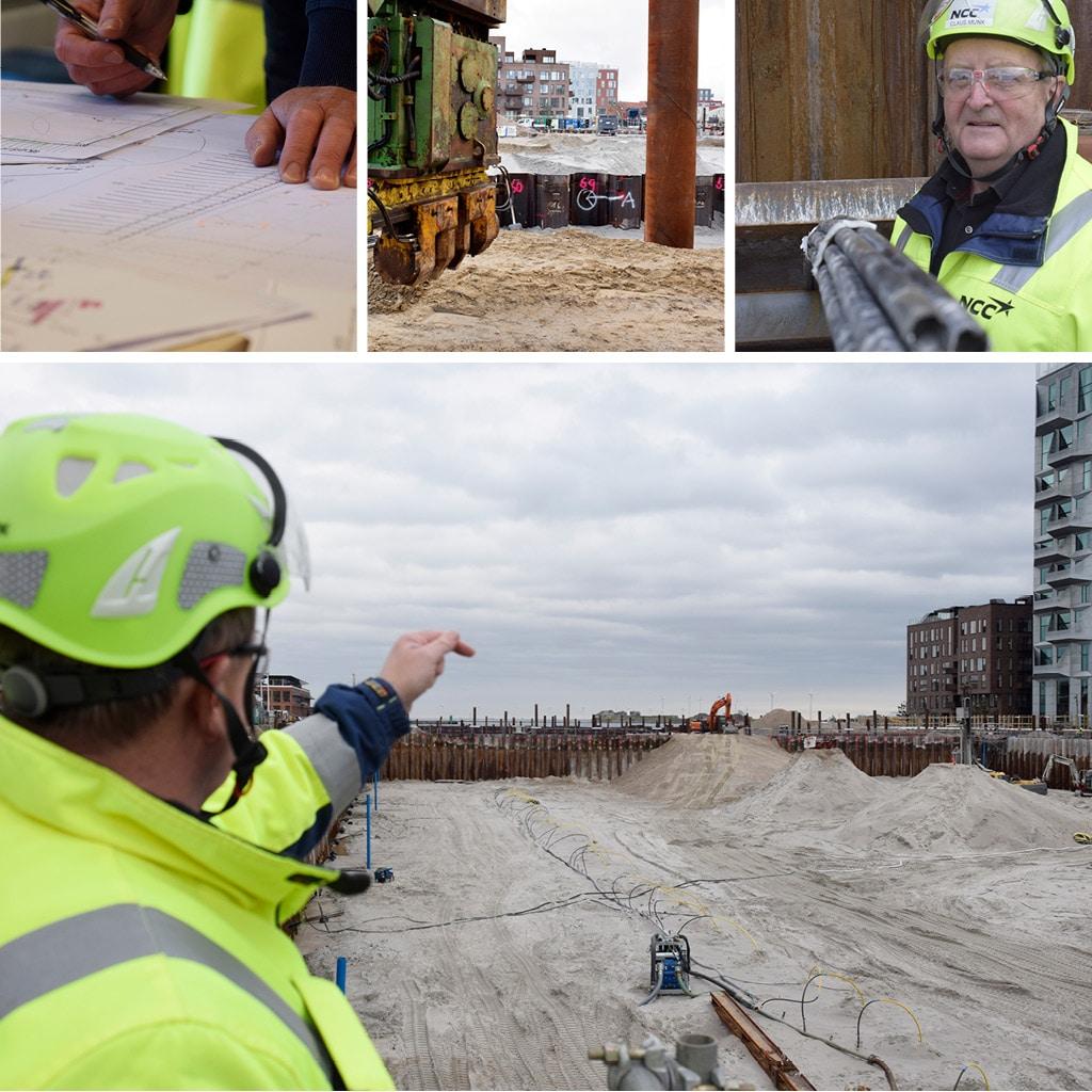 Kranfundamenter og markering af hvor kraner kommer på Kronløbsøens byggeplads.