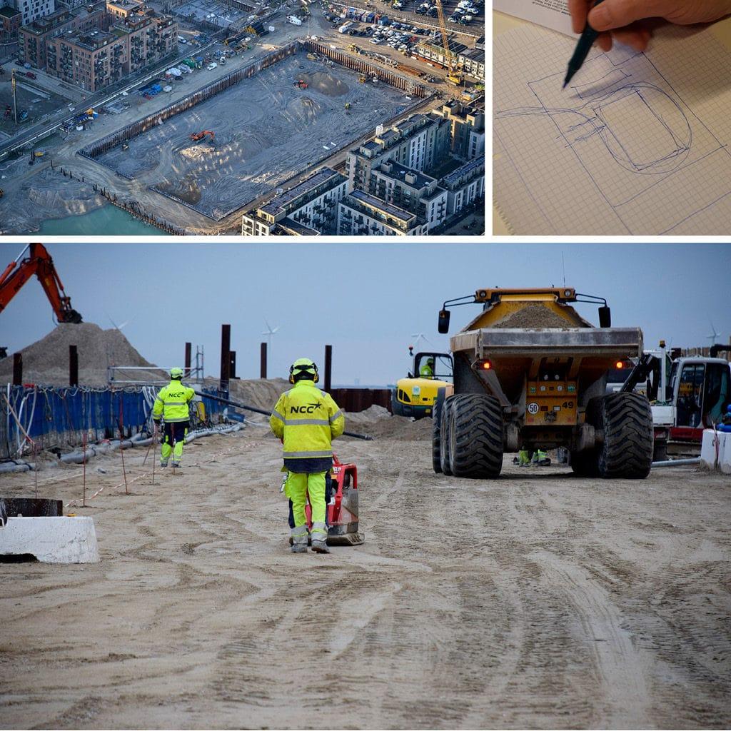 Der kommer en asfalteret kørevej rundt om byggegrupen på Kronløbsøens byggeplads.