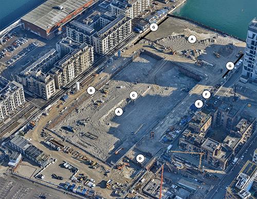 Byggeaktivitet Kronløbsøen marts 2020