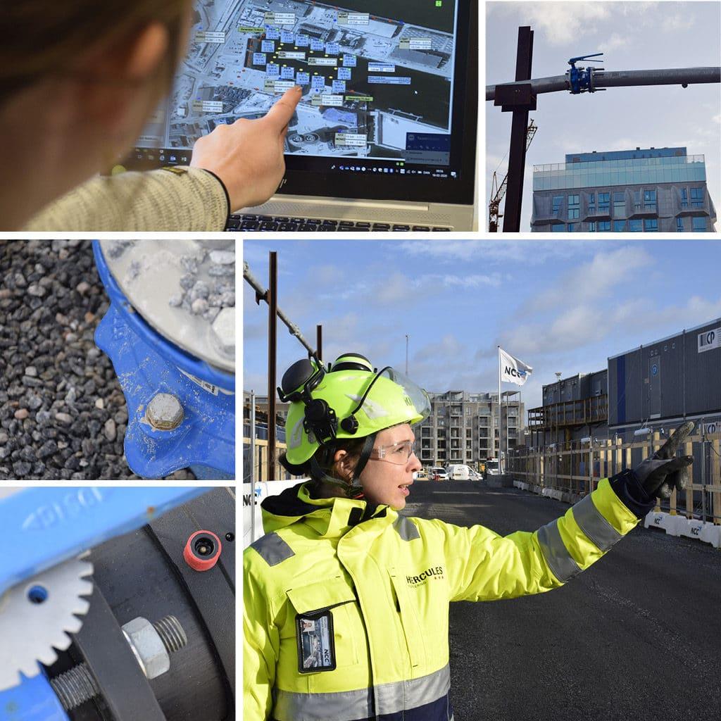 Nathalie Lückstädt Nielsen ser på sin computerskærm. På byggepladsen for Kronløbsøen peger hun ud på grundvandssænknings installationerne.