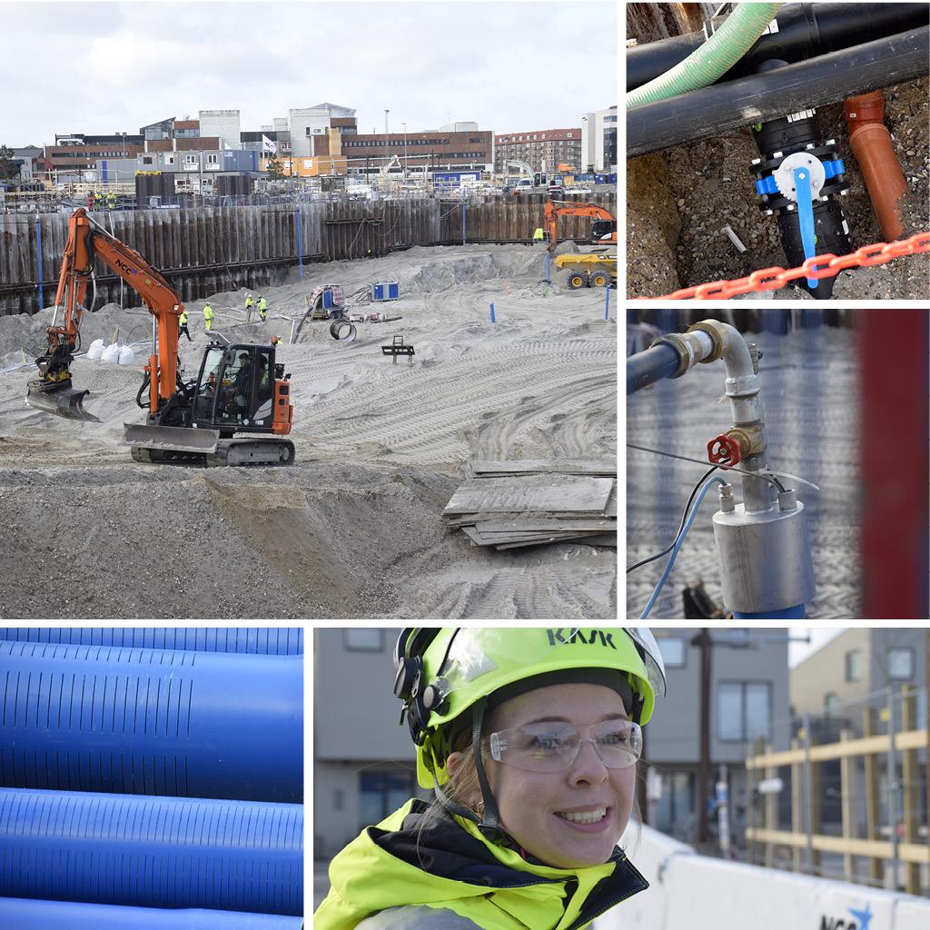 Byggeplads og grundvandssænkning på Kronløbsøen. Nathalie Lückstädt Nielsen, projektleder i Hercules Fundering.
