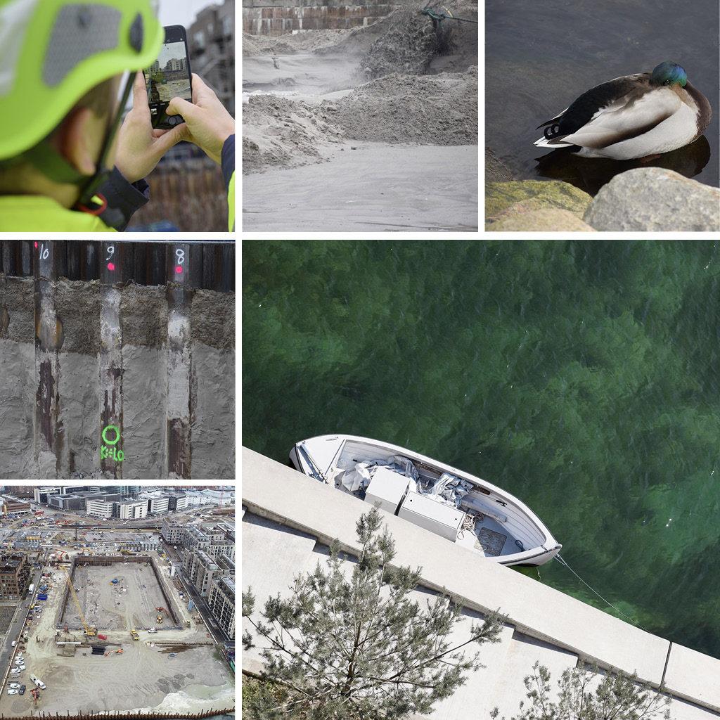 Midlertidige konstruktioner på Kronløbsøens byggeplads. Sand, spunsvæg. Båd ved kaj kant og sovende and.