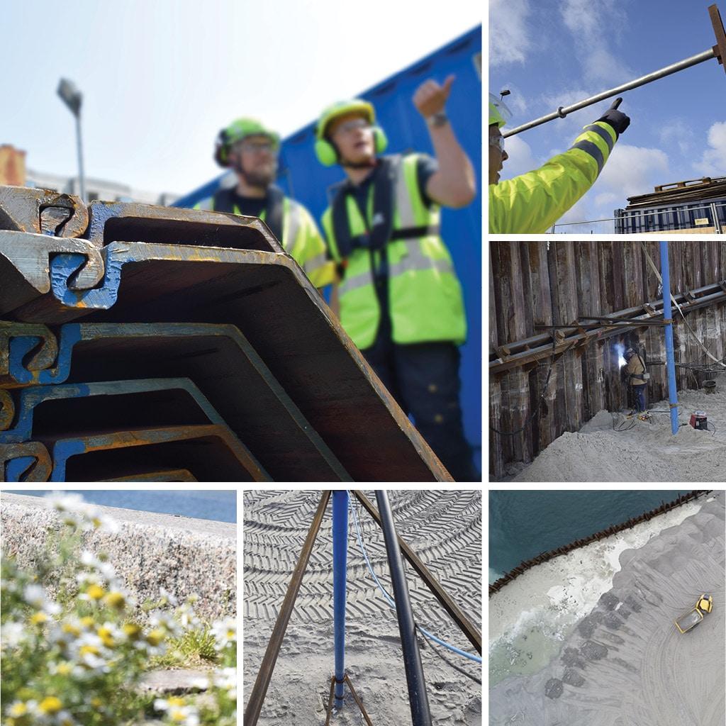 Blomster ved kan kant. Spuns ved Kronløbsøens byggeplads. Grundvandssænknings konstruktioner.