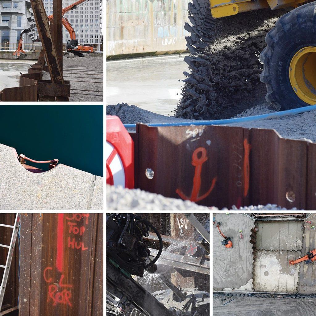 Spuns, sand, tunnel arbejde ved Kronløbsøen. Kajkanten kommer tilbage - rød trappe ved kajkant.