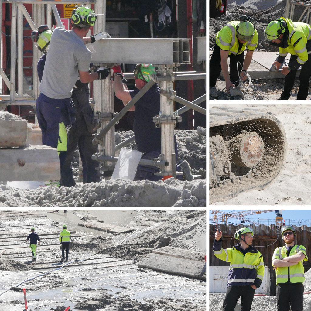 Et statisk prøvebelastningsforsøg på Kronløbsøen. Opbygning af testkonstruktioner.