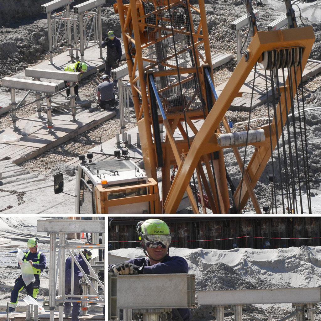 Et statisk prøvebelastningsforsøg på Kronløbsøen. Opbygning af testkonstruktioner. Arbejdende mænd.