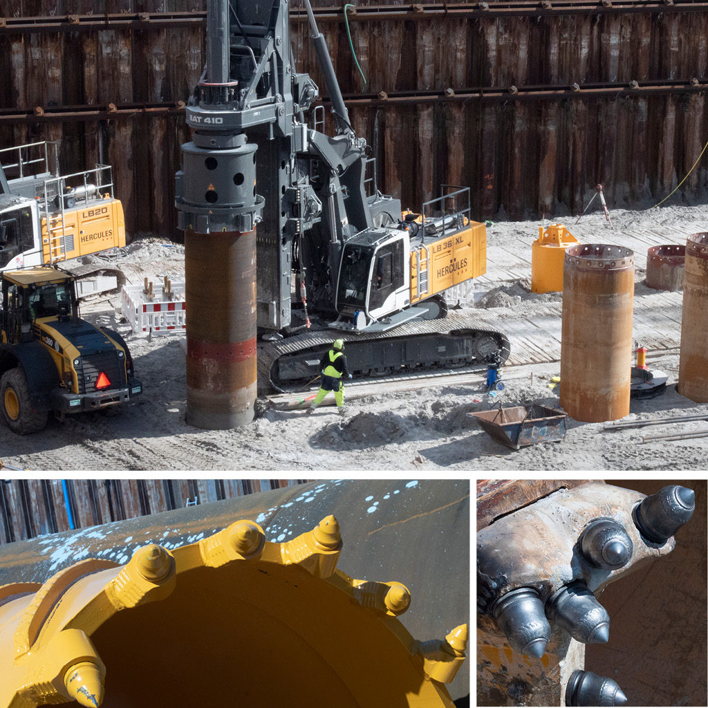 Sekantboremaskine i byggegruppen på Kronløbsøen.