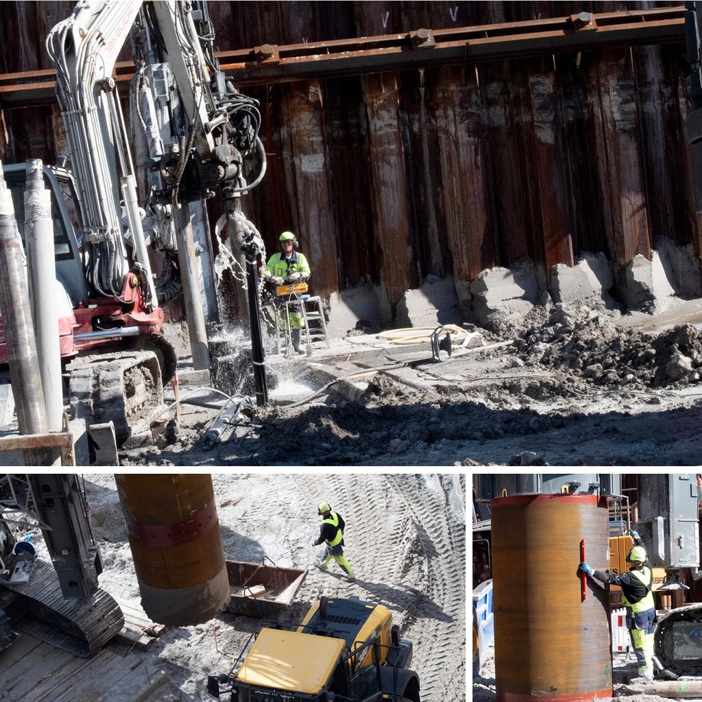 Ankermaskiner borer ned i byggeguppen på Kronløbsøen. Sekantboremaskine og bor.