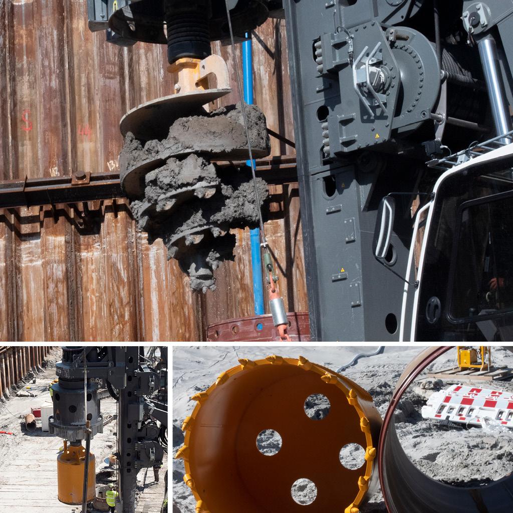 Sekantboremaskine og bor på Kronløbsøens byggeplads.