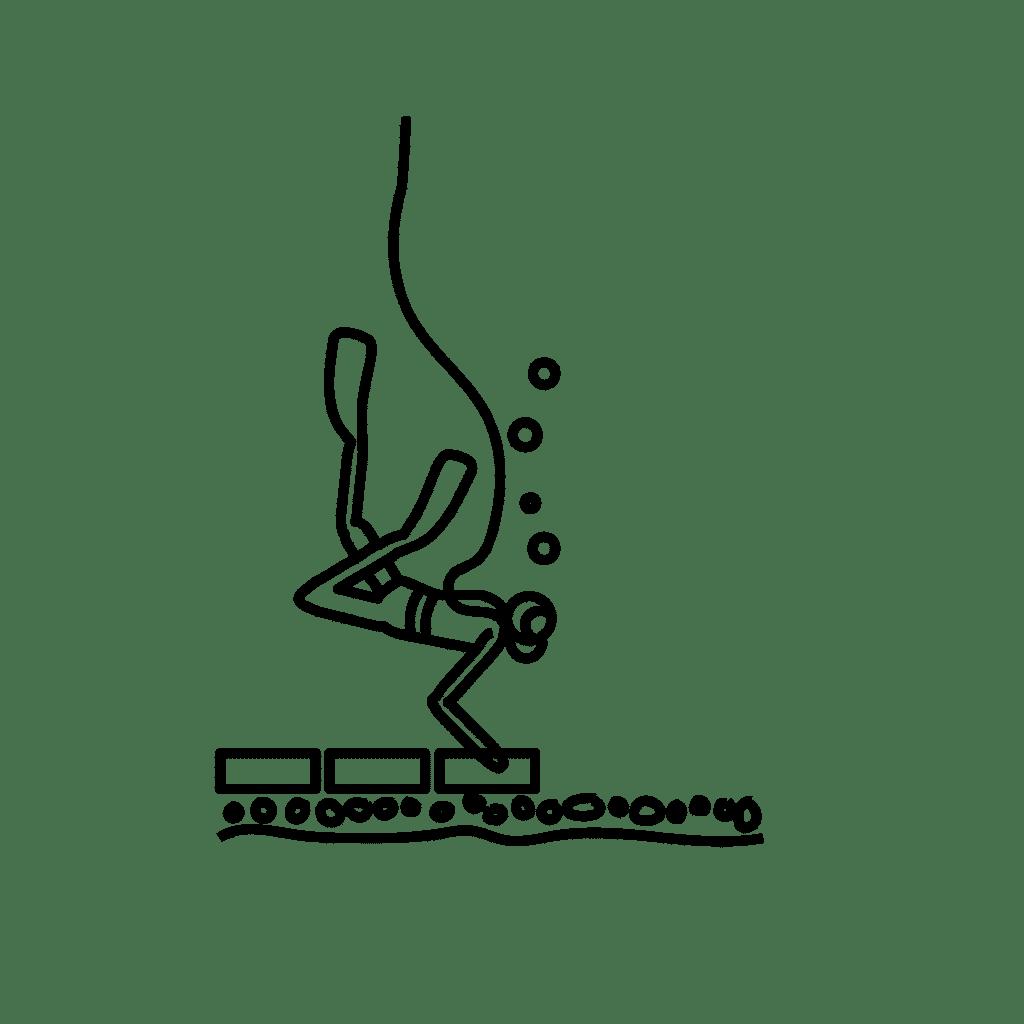 Kronløbsøen - illustration: Dykkerne afretter bunden af tunnelgruben med nøddesten, fliser og armering.