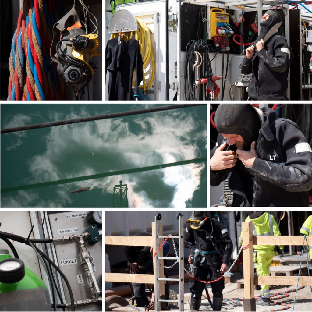 Kronløbsøen - dykker gør sig klar til undersøgelser under vand i tunnelgruben.