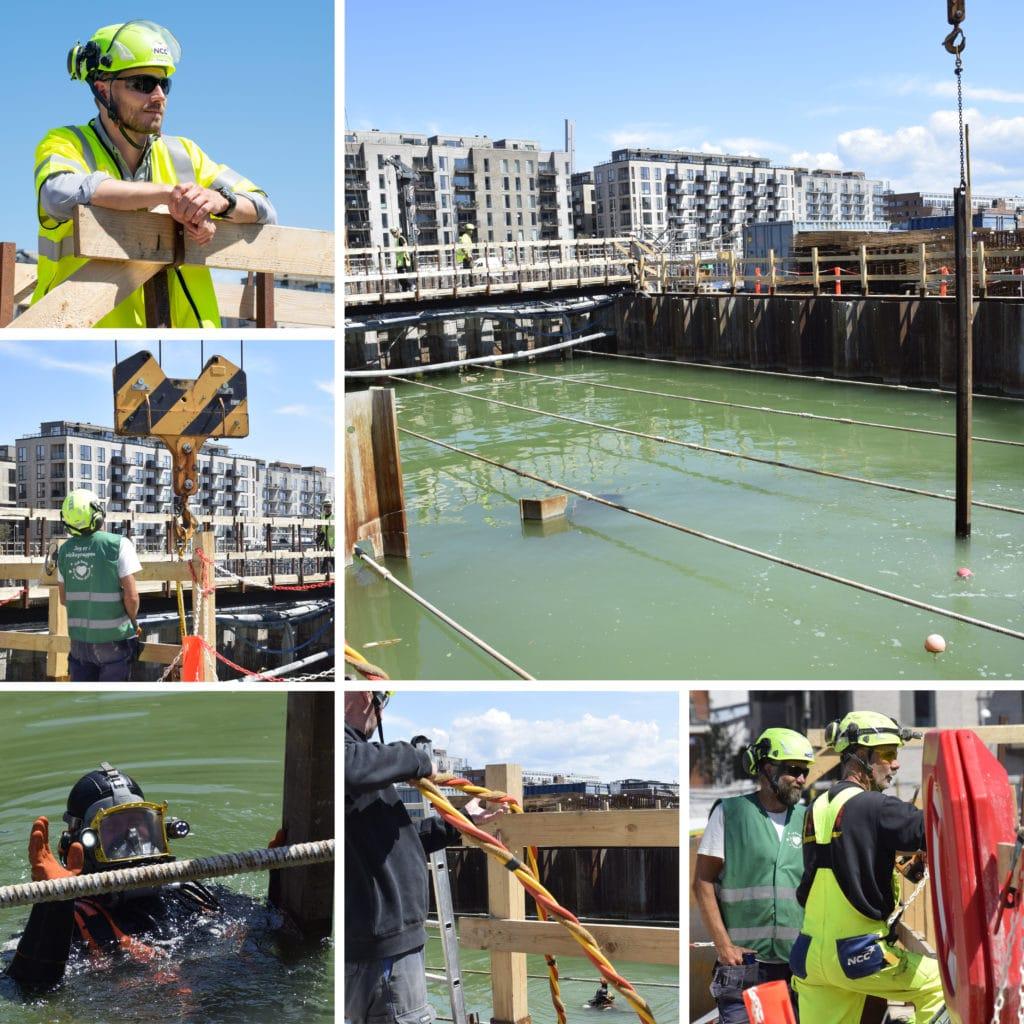 Kronløbsøen - Peter Bech og resten af teamet på landjorden arbejder sammen med en dykker i tunnelgruben