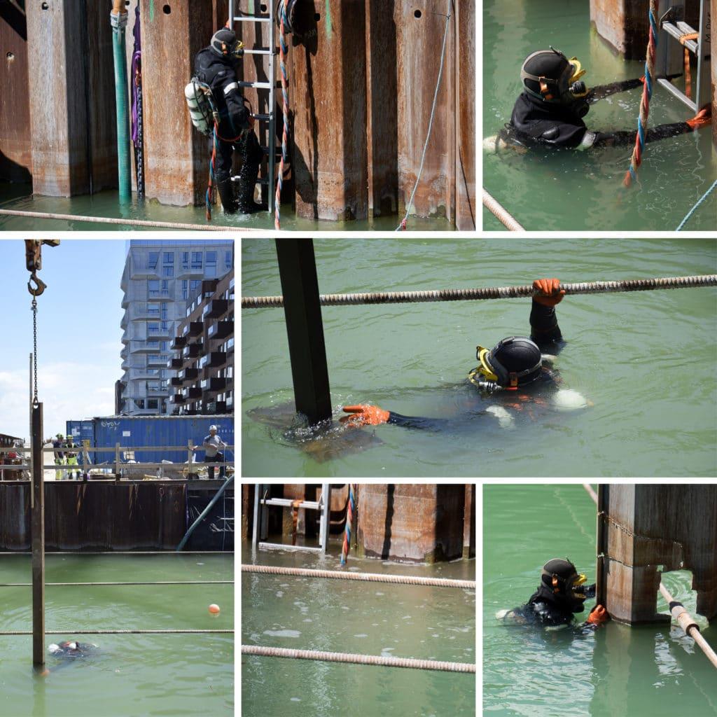 Kronløbsøen - dykker på arbejde i tunnelgruben