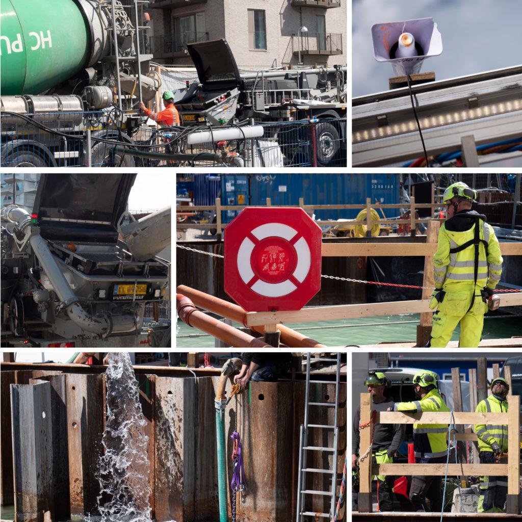 Kronløbsøen - maskiner og folk ved tunnelgruben