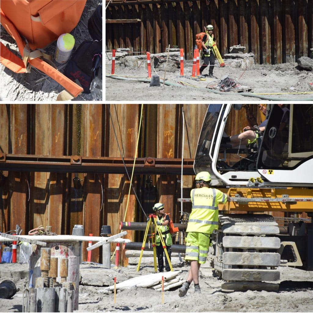 Kronløbsøen - landmåler på vej gennem byggegruben