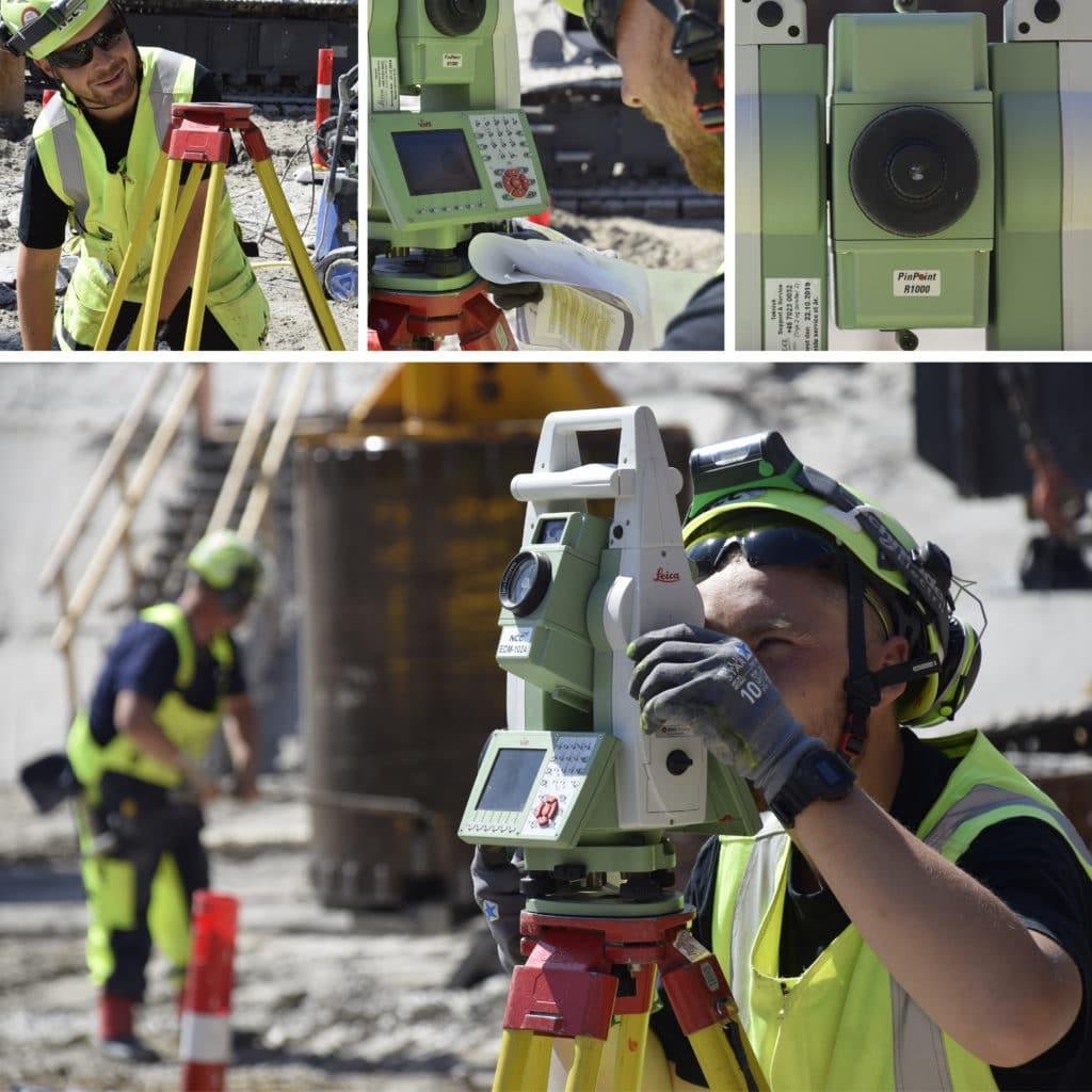 Kronløbsøen - Landmåler arbejder med sin totalstation