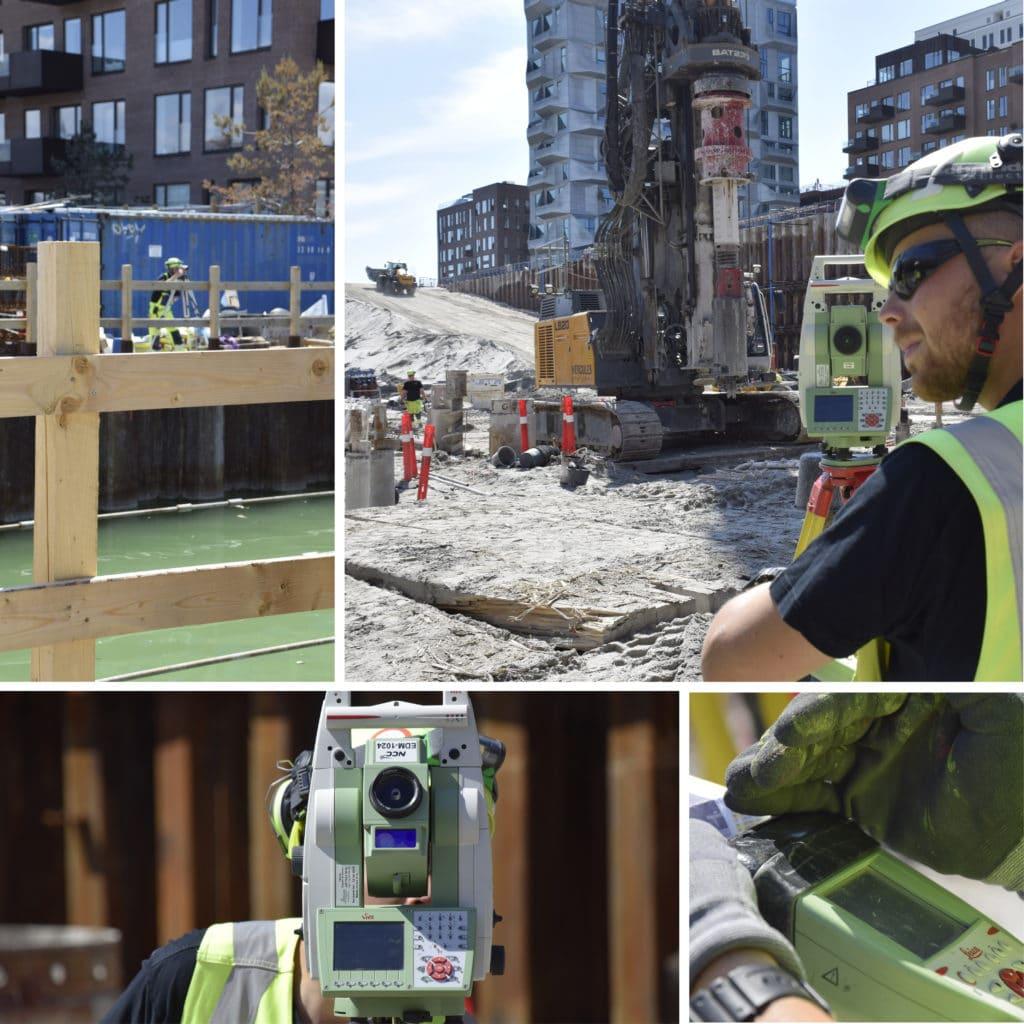 Kronløbsøen - landmåler i arbejde i byggegrube og ved vandfyldt tunnelgrube