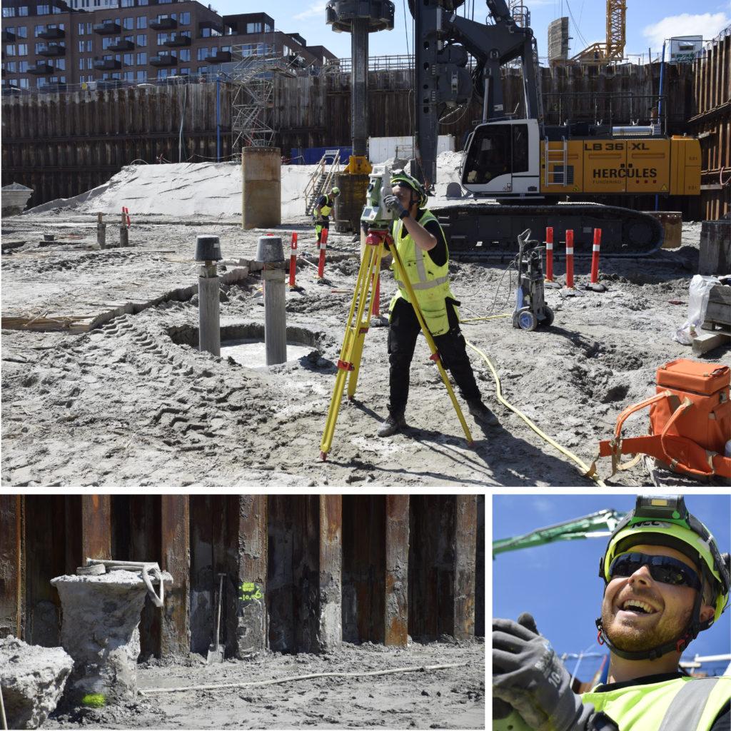 Kronløbsøen - landmåler i arbejde i byggegruben