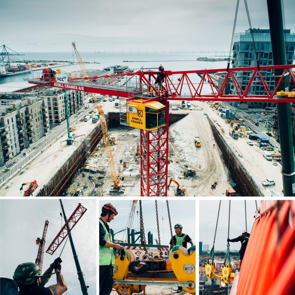 Opbygning af den første tårnkran på Kronløbsøens byggeplads. Kranmontører i arbejde i højden - udsigt over Nordhavn.