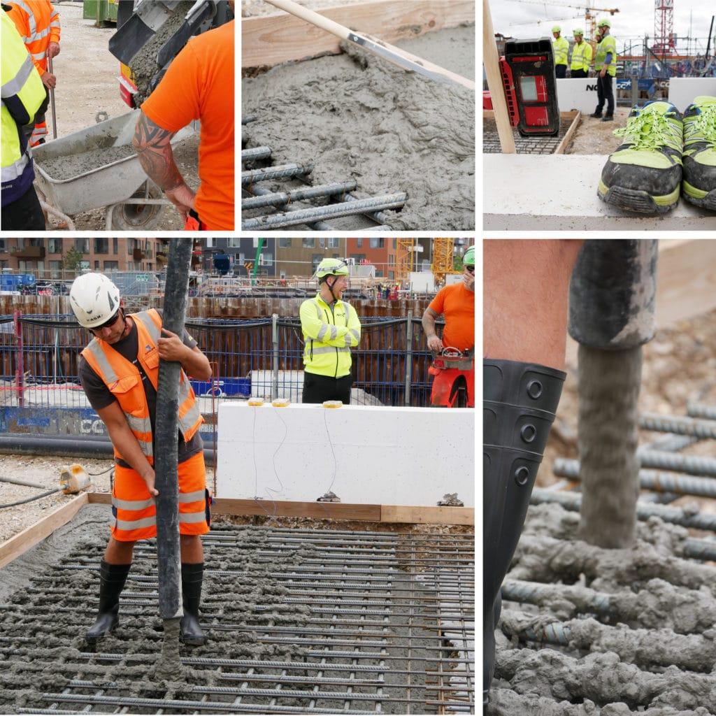 Prøvestøbning af beton på Kronløbsøen