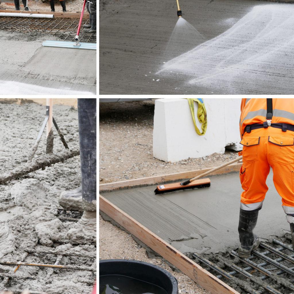 Prøvestøbning af beton på Kronløbsøen. Beton glattes ud.