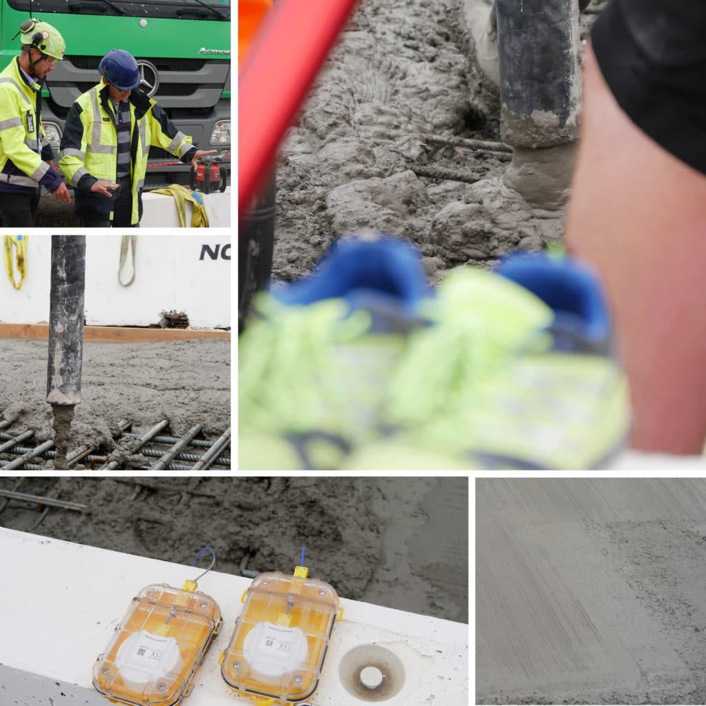 Prøvestøbning af beton på Kronløbsøen. Udlægning af beton samt måleudstyr.