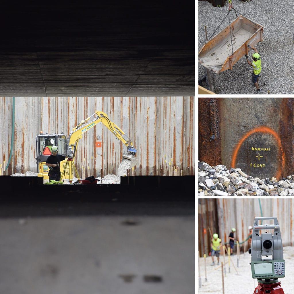 Arbejde i tunnelen til parkeringskælderen på Kronløbsøen. Minigraver og sten.