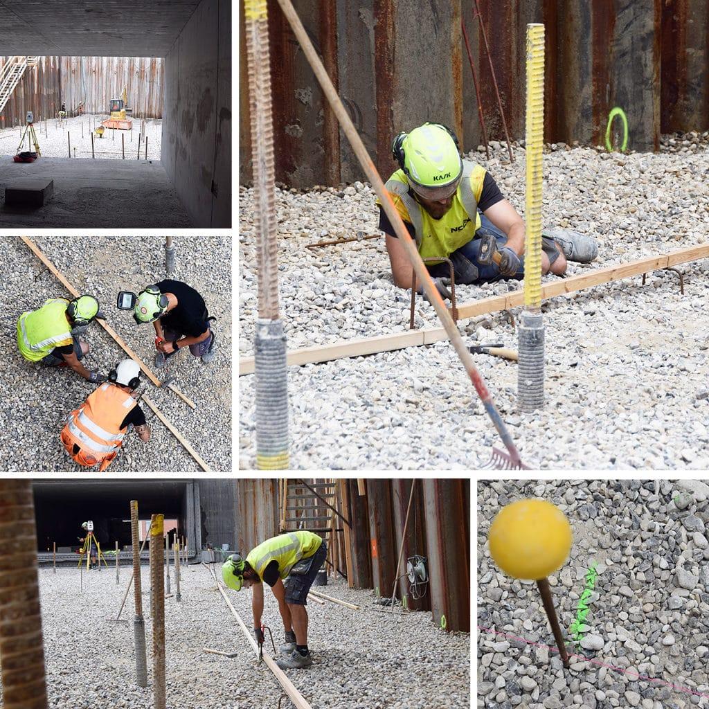 Arbejde i tunnelen til parkeringskælderen på Kronløbsøen. Forberedelse til støbning af renselag.