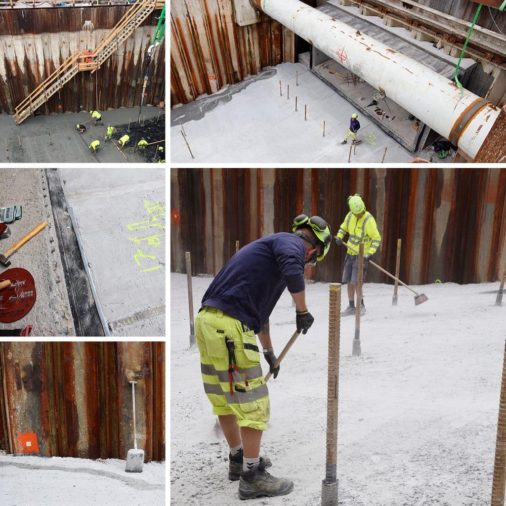 Arbejde i tunnelen til parkeringskælderen på Kronløbsøen. Støbning af renselag. Fejning af renselag.