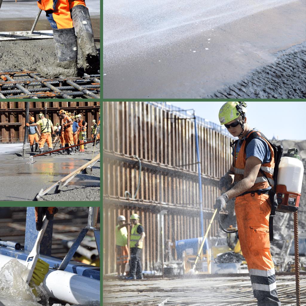 Kronløbsøen - støbning af første del af bundpladen i Kronløbsbassinet. Beton arbejdere fordeler beton ud over armering og sprøjter.