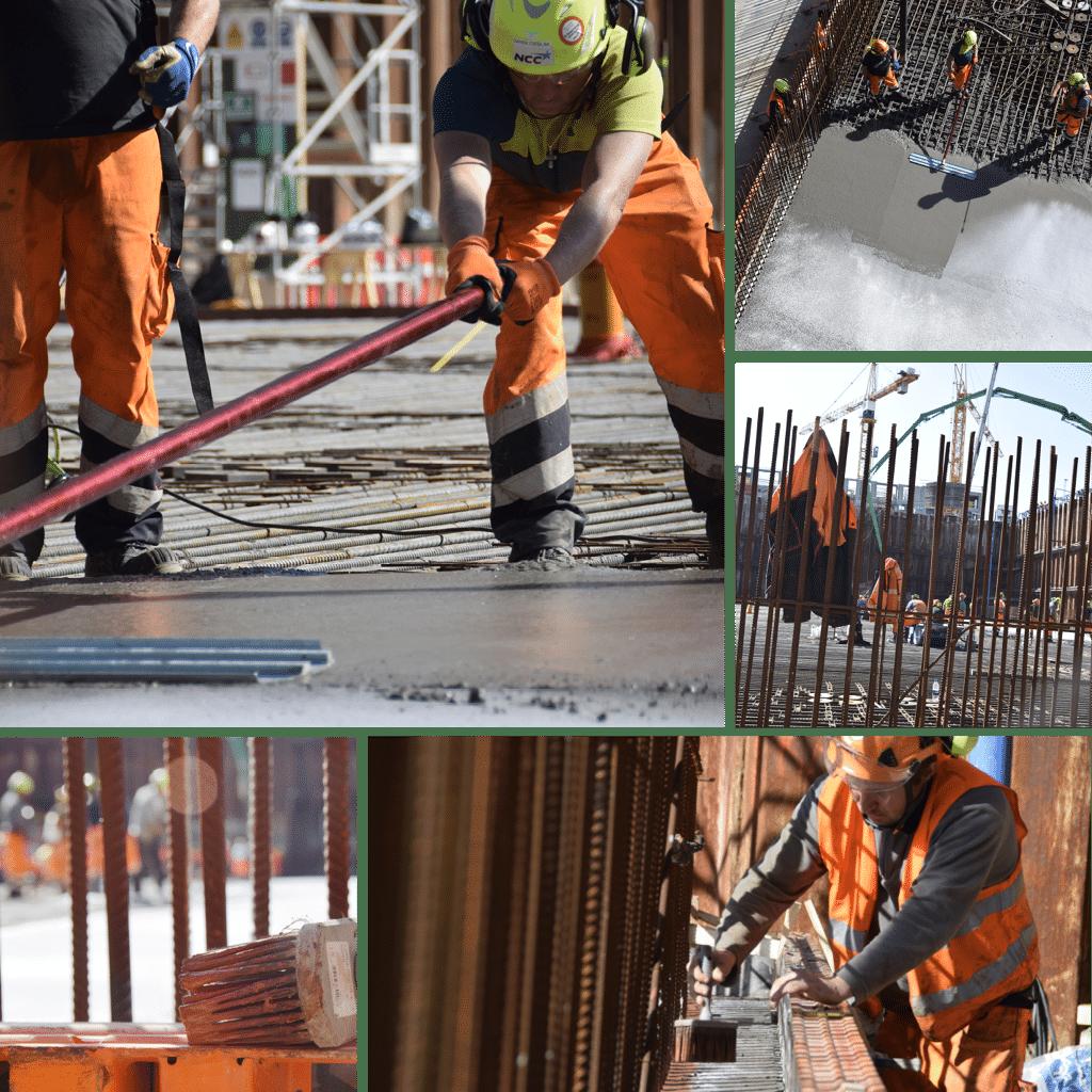 Kronløbsøen - støbning af første del af bundpladen i Kronløbsbassinet. Beton arbejdere fordeler beton ud over armering.