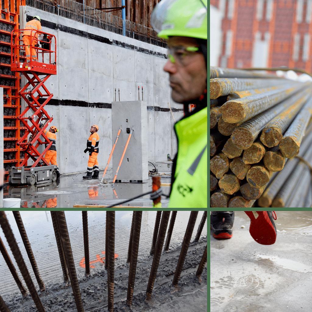Kronløbsøen - i byggegruben ses begyndelsen til de ydre kældervægge