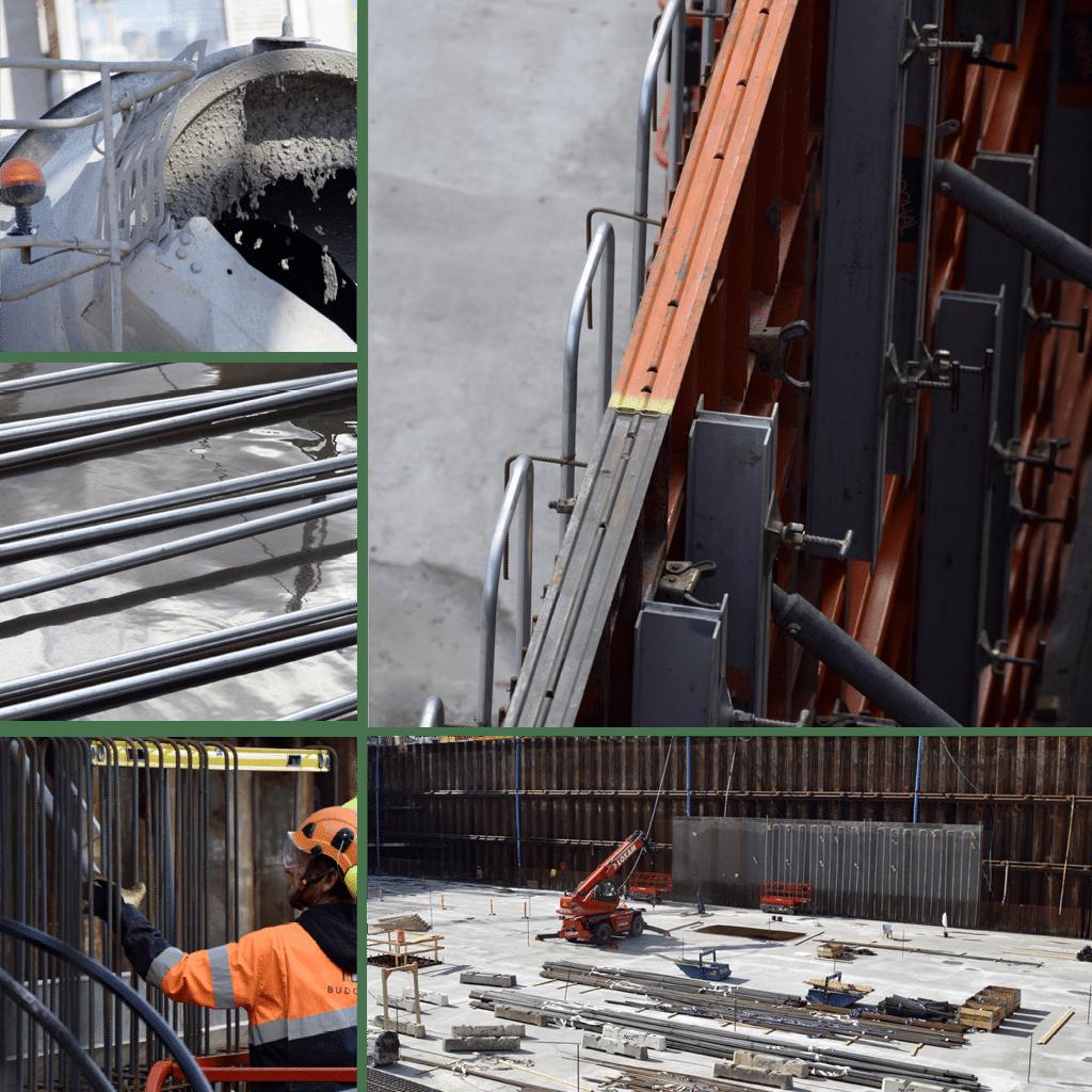 Kronløbsøen - i byggegruben ses begyndelsen til de ydre kældervægge. Kølerør, armering, beton, støbeforme.