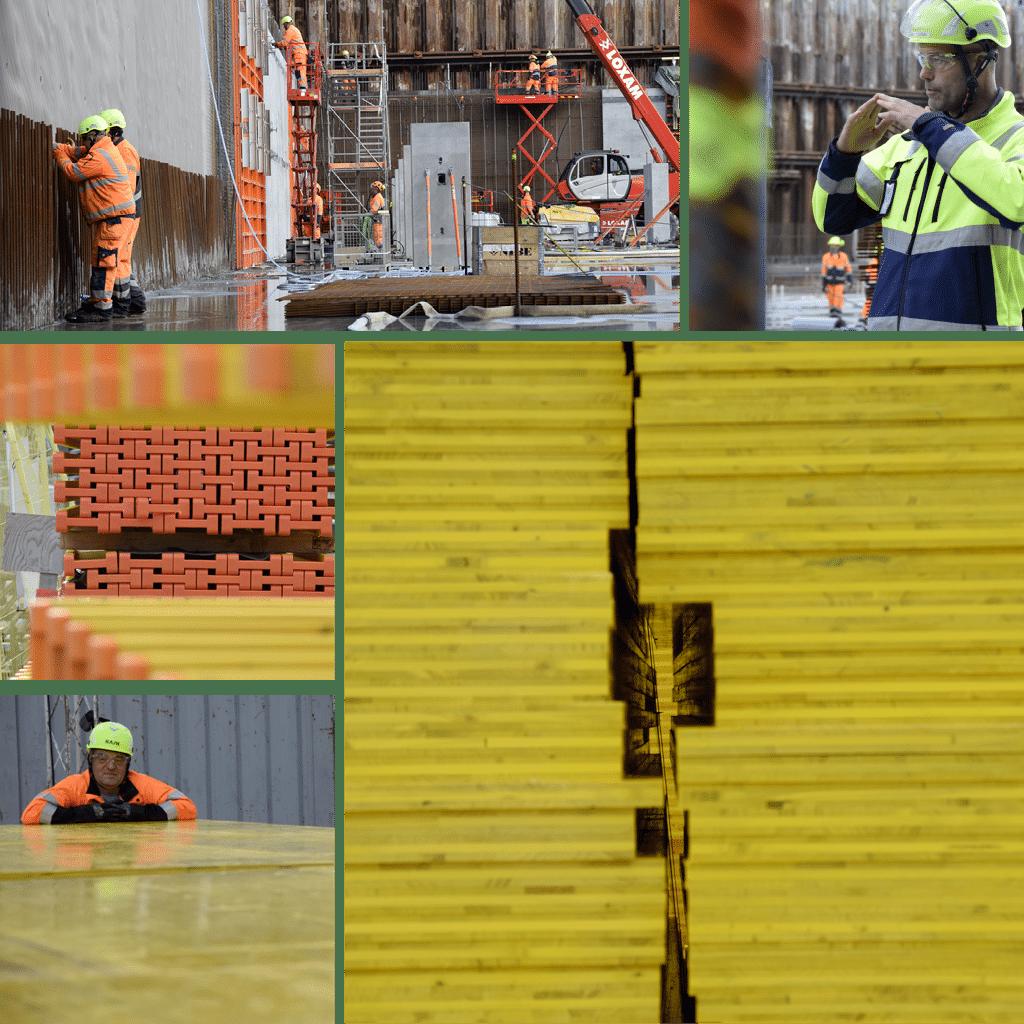 Kronløbsøen - i byggegruben ses begyndelsen til de ydre kældervægge. Materialer ligger klar til at danne støbefundament for første mellemdæk.