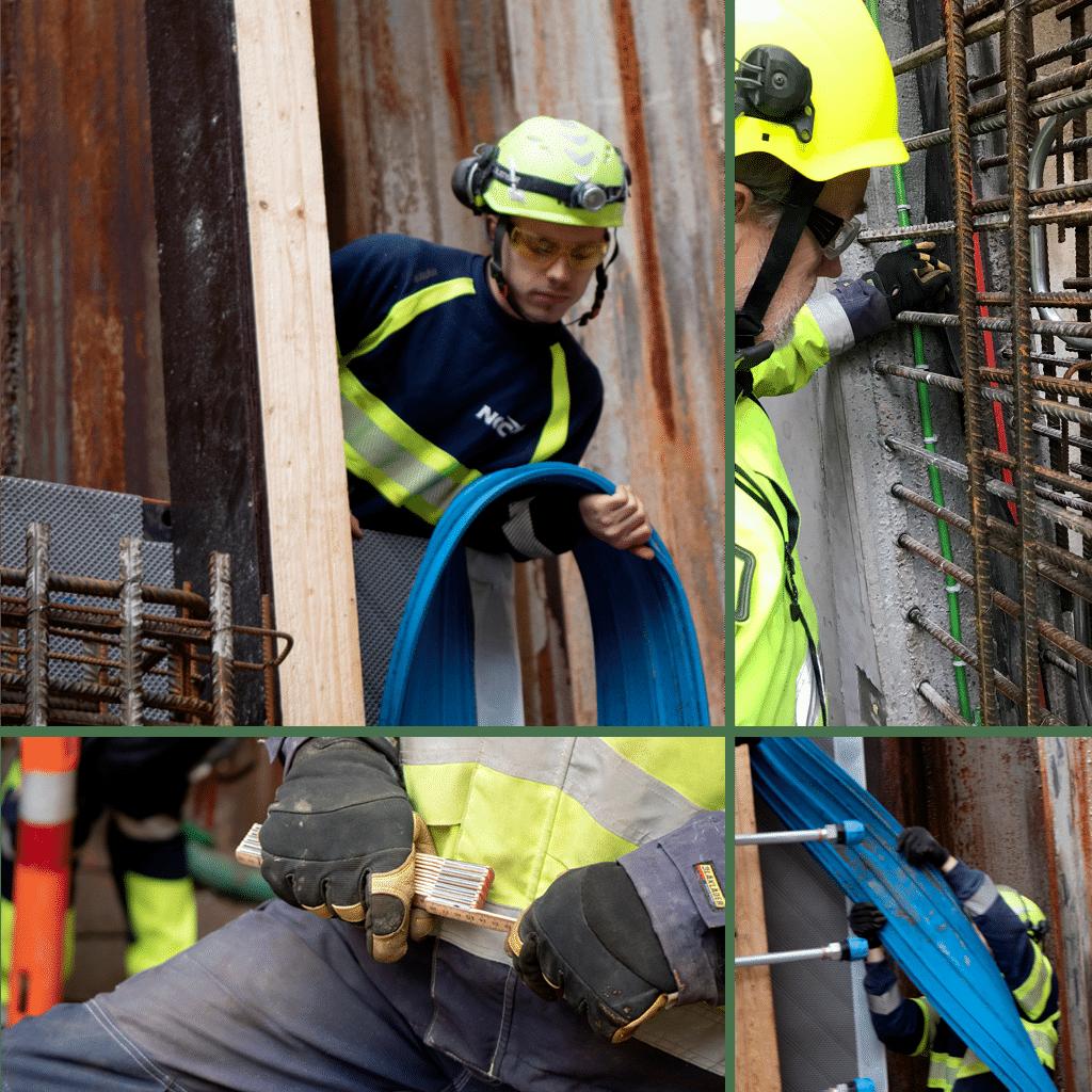 Kronløbeøen - tunnel - tretrinsraket for konstruktionen. Fugebånd, injektionsslange, membran.,